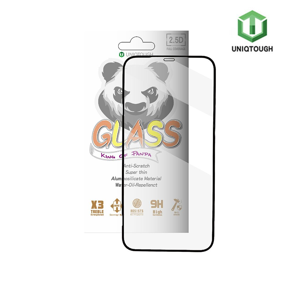 UNIQTOUGH iPhone 12 /iPhone 12 Pro (6.1吋)王者熊貓高透光耐衝擊強化玻璃保護貼-黑