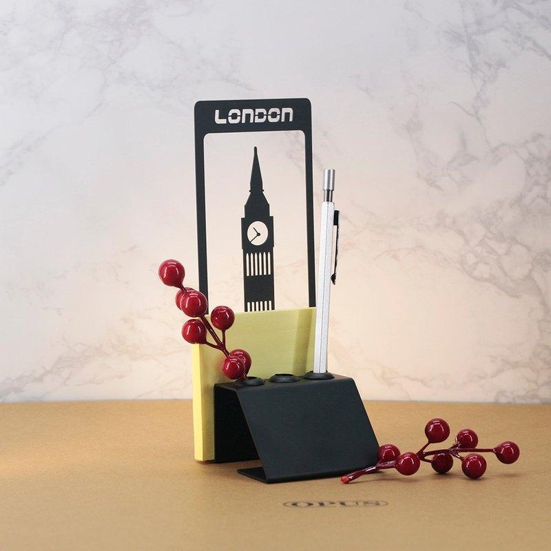 【OPUS東齊金工】英國倫敦大笨鐘-便條筆座(黑)/歐式鐵藝筆插筆架