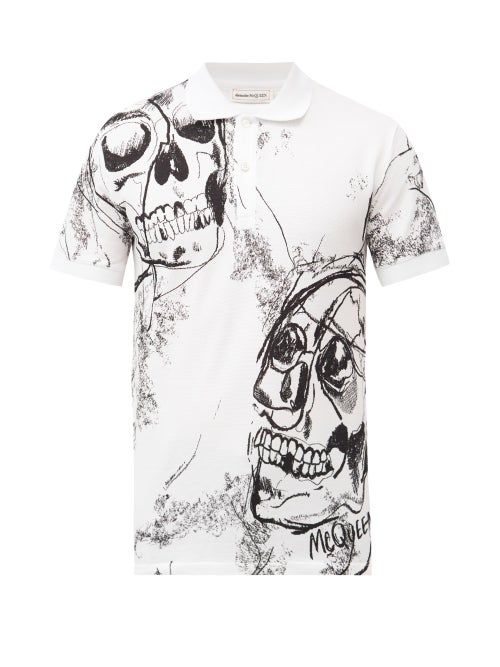 Alexander Mcqueen - Skull-print Cotton-piqué Polo Shirt - Mens - White