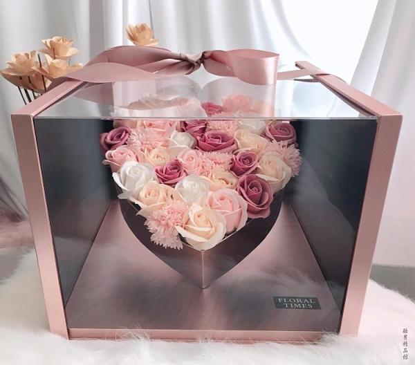 大號全景愛心禮盒玫瑰皂花 七夕情人節送花女友生日創意禮物浪漫 安雅家居館
