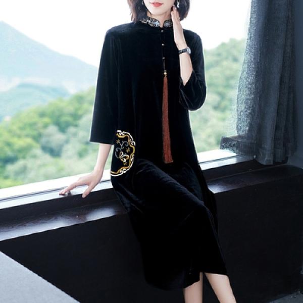 日系洋裝~長袖連身裙~8800絲絨連身裙秋季年女裝名媛高端氣質黑色大牌顯瘦4F091衣時尚