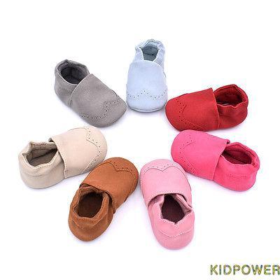 POK-新生嬰兒軟底絨面革皮鞋嬰兒男孩女孩蹣跚學步