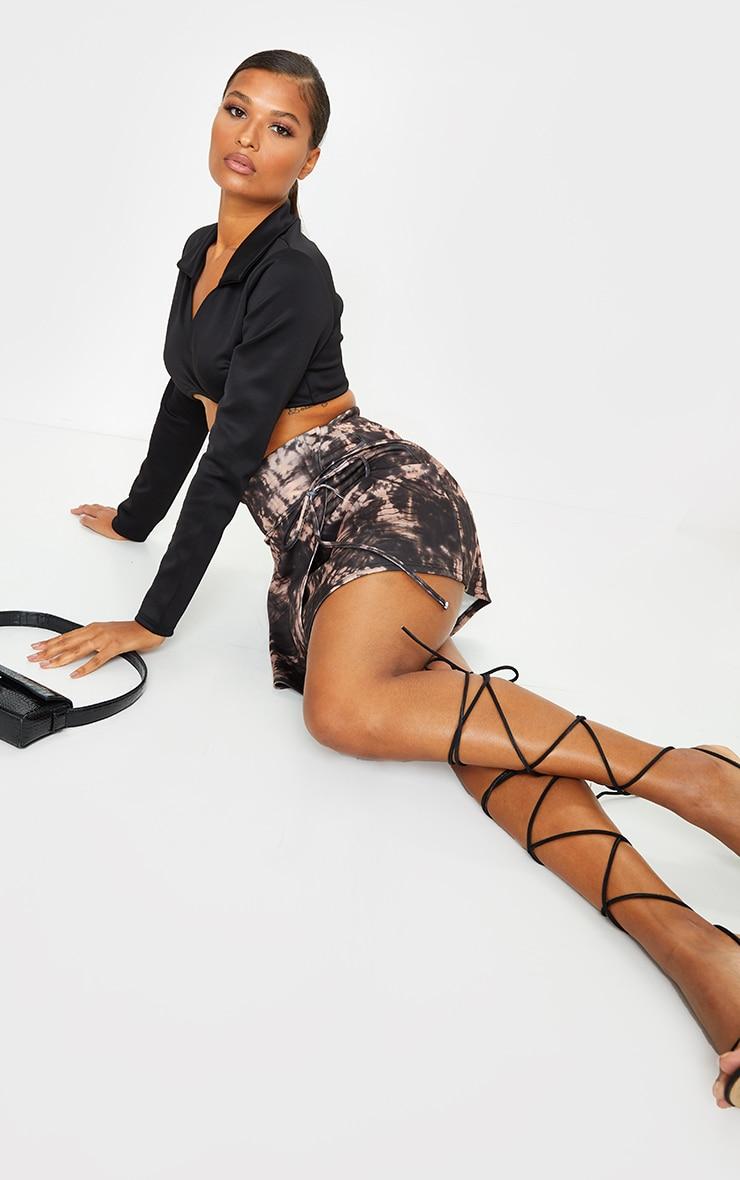 Black Tie Dye Printed Scuba Wrap Mini Skirt