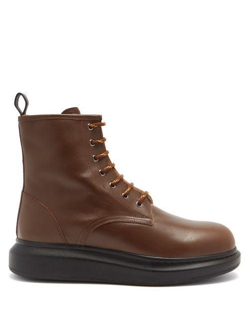 Alexander Mcqueen - Hybrid Exaggerated-sole Leather Boots - Mens - Brown
