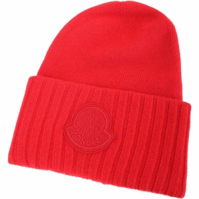 MONCLER 品牌標誌補丁純羊毛針織帽(紅色)