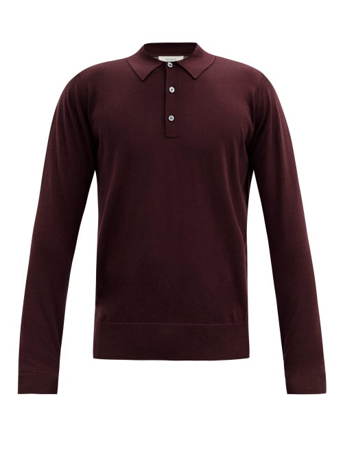 Studio Nicholson - Tencel-blend Polo Shirt - Mens - Burgundy
