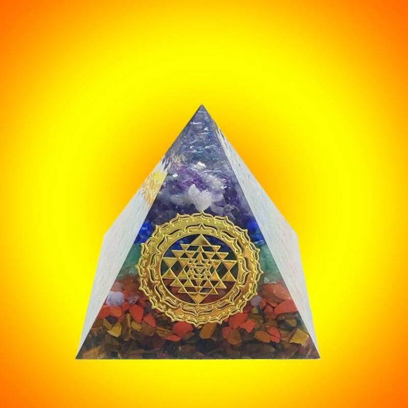 七脈輪orgonite奧根金字塔(4公分款)