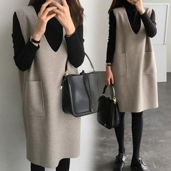 漂亮小媽咪 韓系 V領 兩件式 洋裝 【D2666】 毛呢 口袋 背心裙 高領 內搭衣 孕婦裝