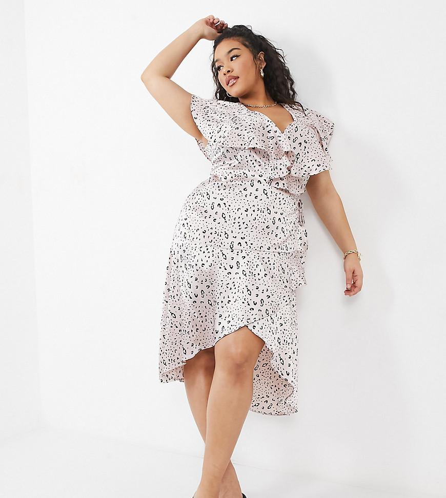 NaaNaa Plus frill midi dress in pink print