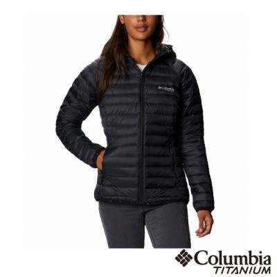 Columbia 哥倫比亞 女款- 鈦 3D鋁點保暖800羽絨連帽外套-黑色 UWR01850BK