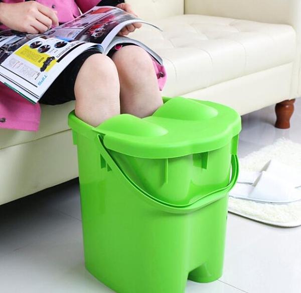 泡腳桶 帶蓋加高加厚足浴桶 按摩保溫泡腳桶足浴盆 塑料手提洗腳桶洗腳盆【快速出貨八折搶購】