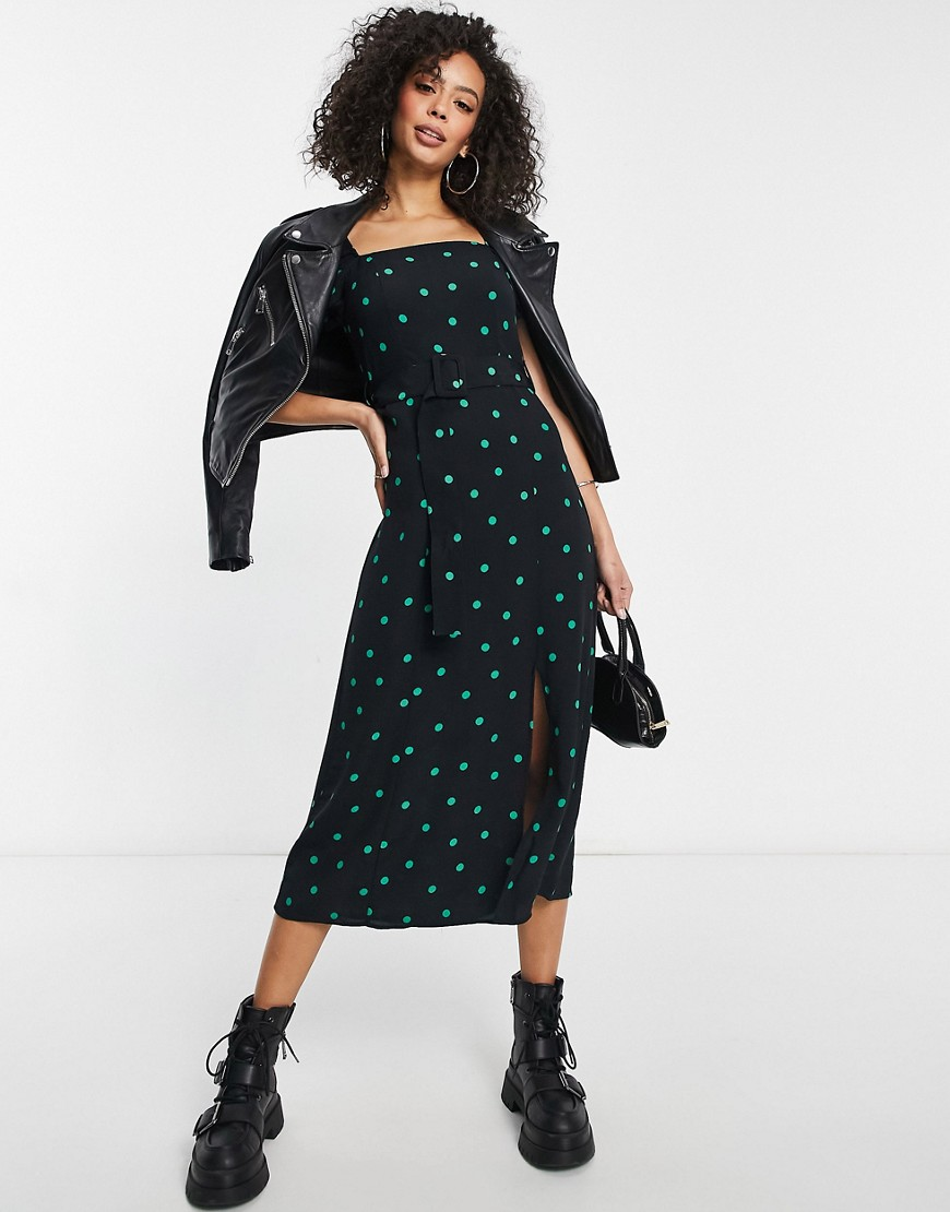 New Look square neck belted midi dress in spot-Multi