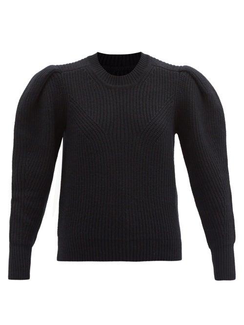 Isabel Marant - Robin Pleated-sleeve Ribbed Merino-blend Sweater - Womens - Black