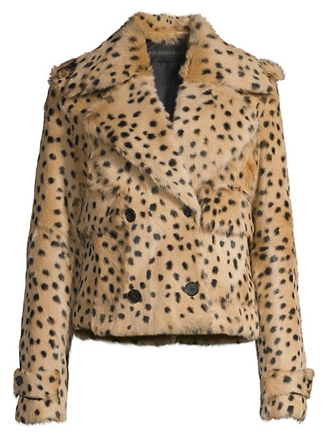 Printed Dots Double-Breasted Shearling Cropped Jacket