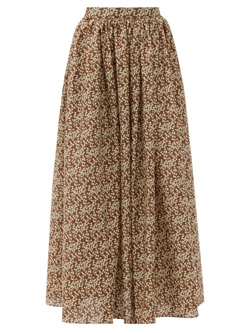 Matteau - Gathered Floral-print Cotton Maxi Skirt - Womens - Brown Print
