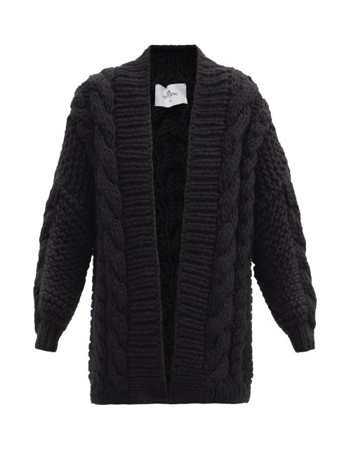 Mr Mittens - Oversized Cable-knit Wool Cardigan - Womens - Black