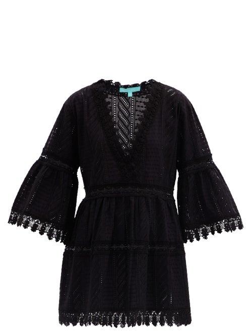 Melissa Odabash - Victoria Bell-sleeve Embroidered-cotton Mini Dress - Womens - Black