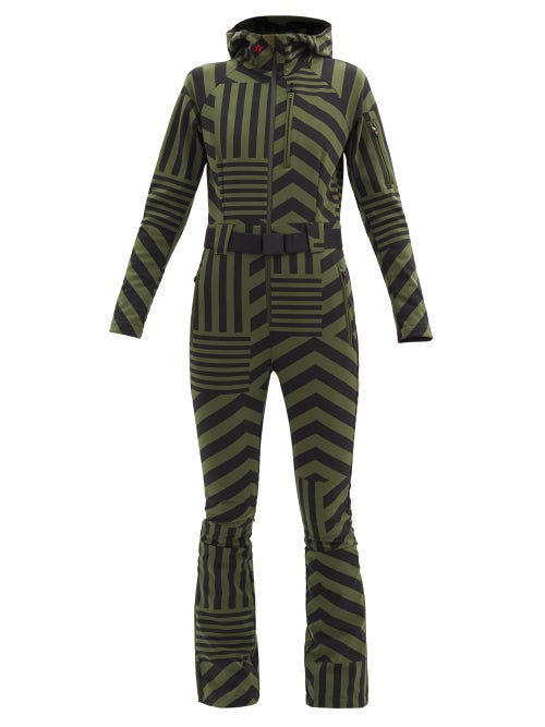 Perfect Moment - Star Dazzle Striped Soft-shell Ski Suit - Womens - Black Green