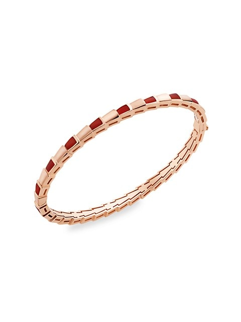 Serpenti Viper 18K Rose Gold & Carnelian Hinged Bangle Bracelet