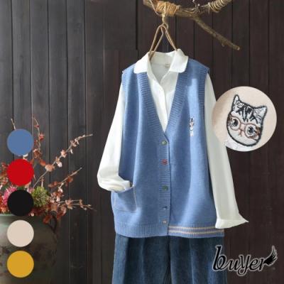 【白鵝buyer】貓咪刺繡毛衣針織背心(多色任選)