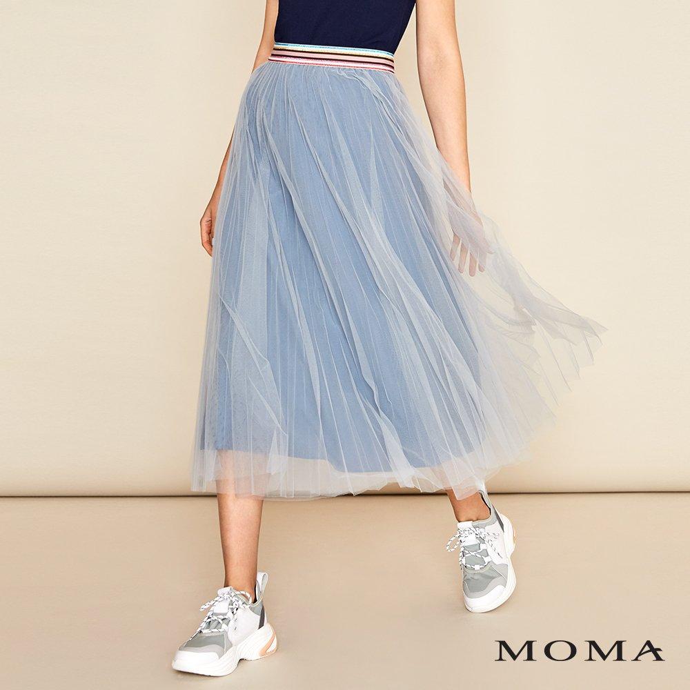 MOMA(01S035)彩色腰頭網紗裙