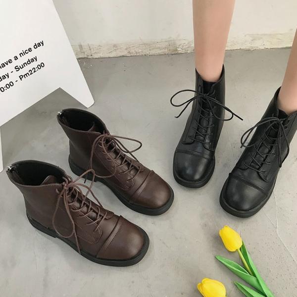 靴子.時尚百搭綁帶後拉鍊顯瘦馬丁靴.白鳥麗子