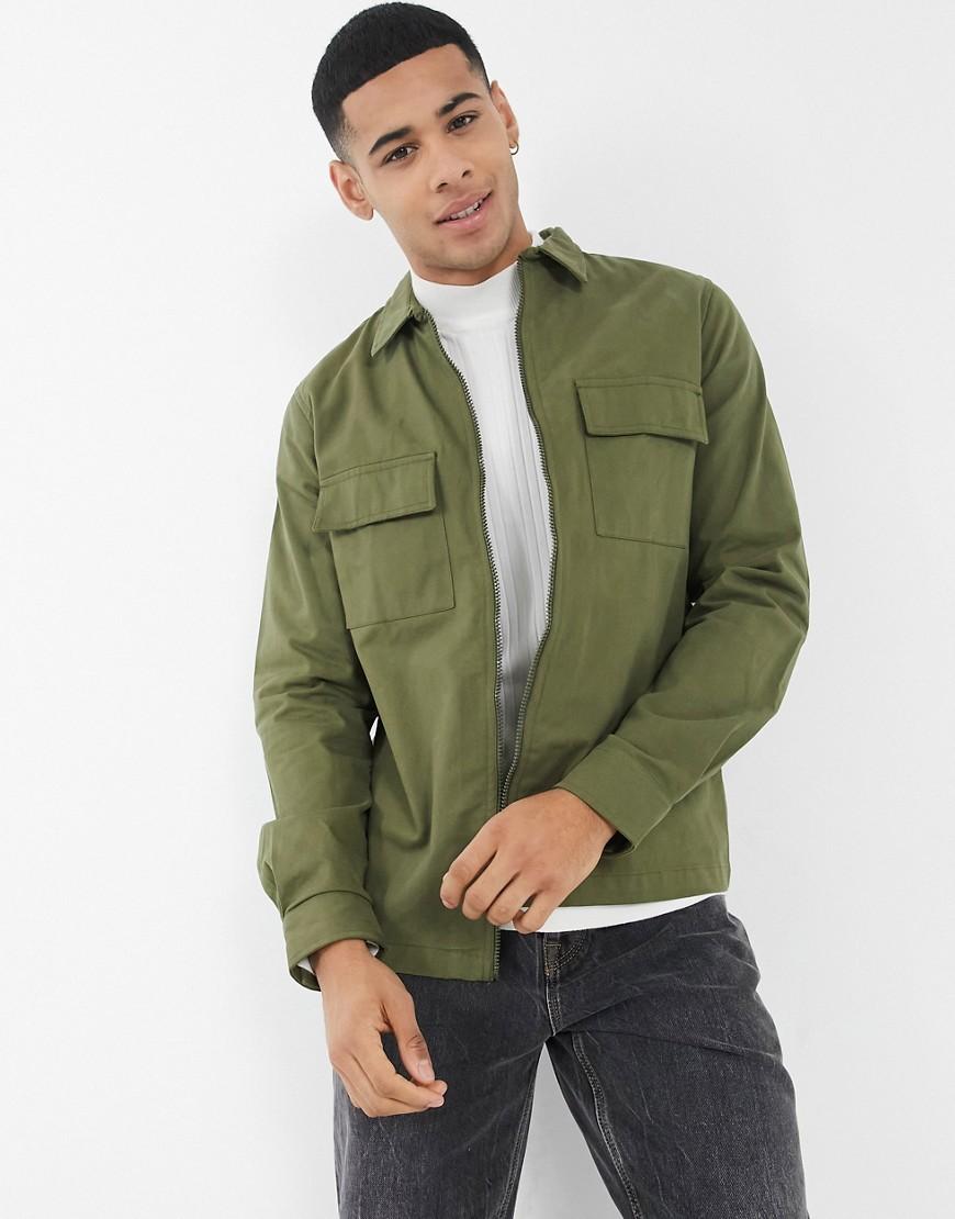 Threadbare cosmo overshirt in khaki-Green