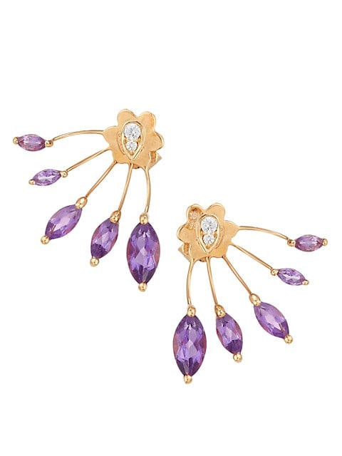 Evantail 18K Rose Gold, Amethyst & White Diamond Fan Earrings
