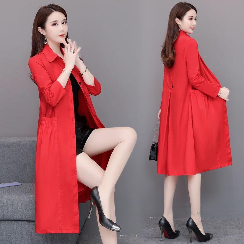 紅色風衣女中長款韓版大碼2020新款春秋POLO領過膝媽媽裝秋裝外套