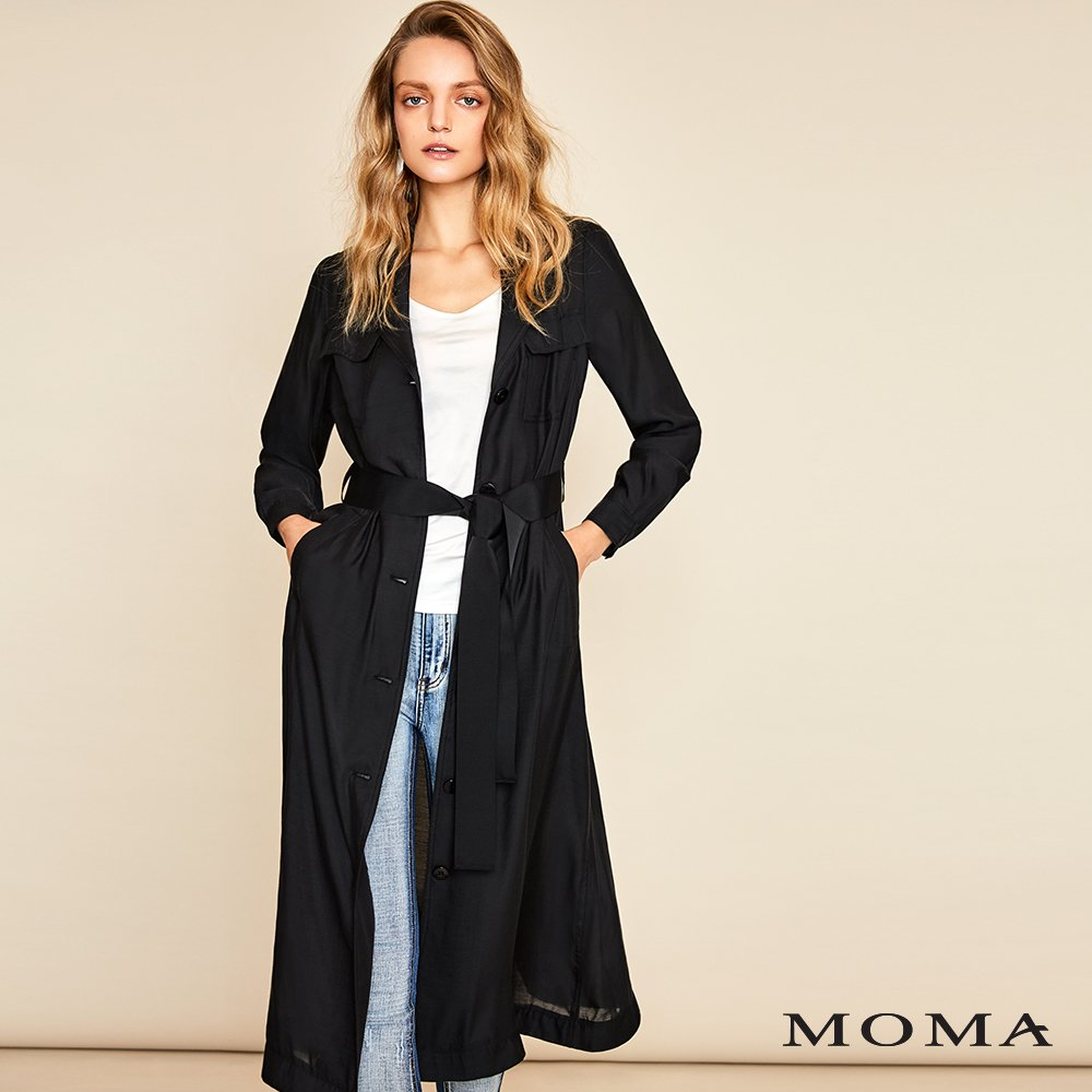 MOMA(01B002)後壓褶異材拚接襯衫