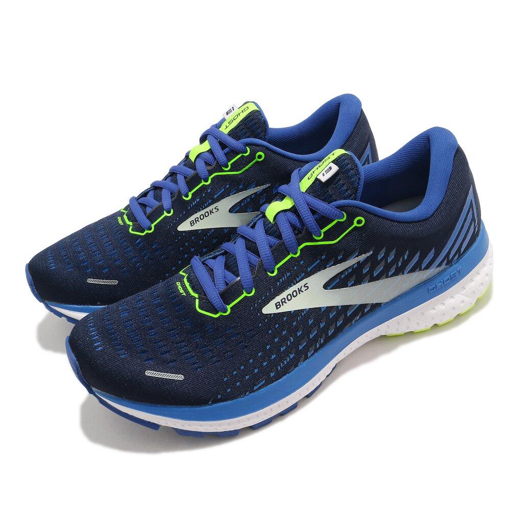 BROOKS 慢跑鞋 Ghost 13 運動 男鞋 路跑 緩震 DNA科技 透氣 健身 球鞋 藍 黃 [1103481D474]