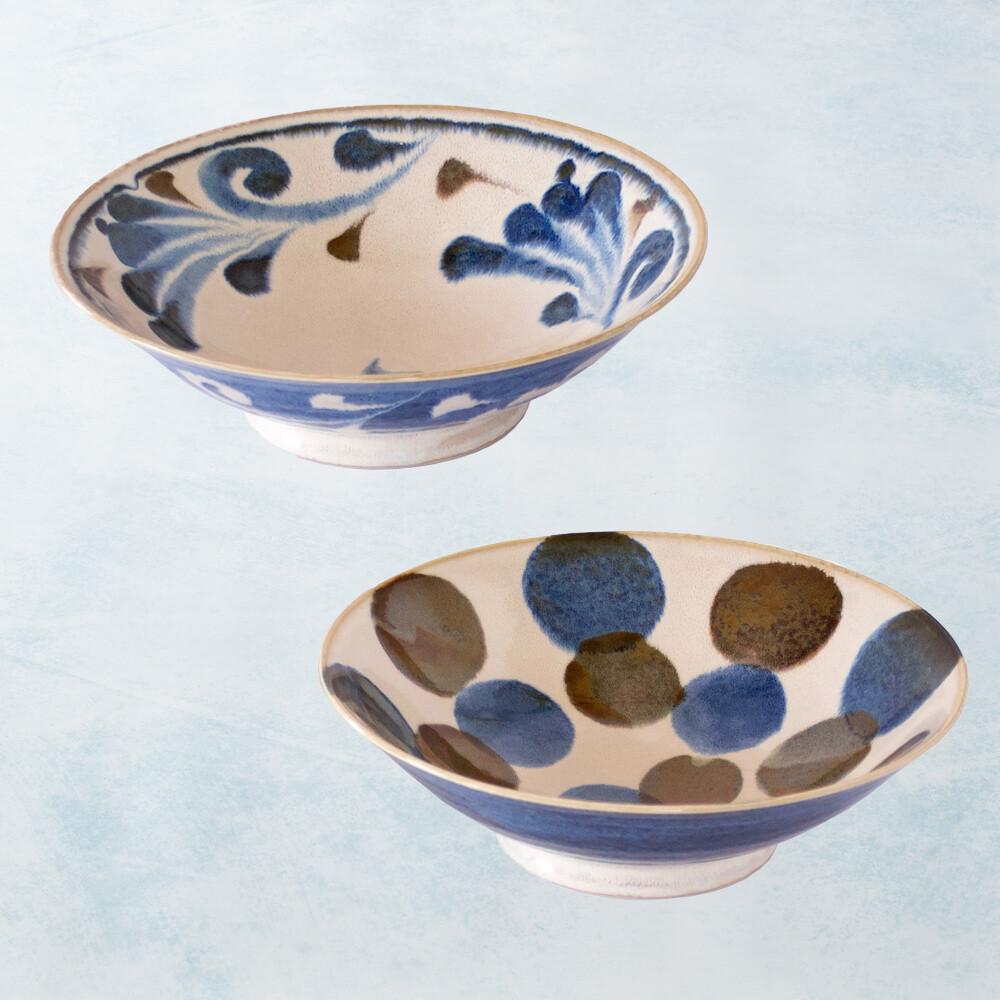 日本美濃燒 - 筆青釉繪寬口大碗組(2件式)