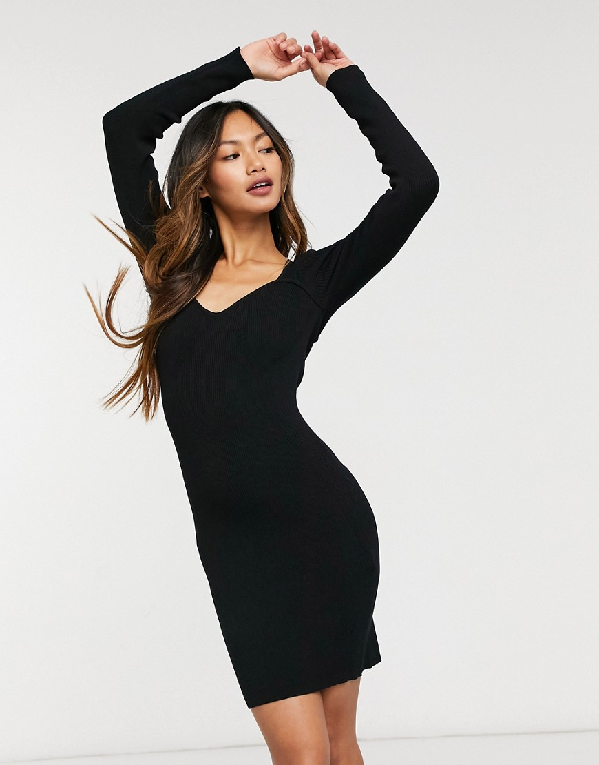 & Other Stories sweetheart neckline knitted mini dress in black