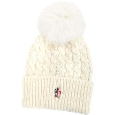 MONCLER 狐狸毛球麻花針織羊毛帽(白色)