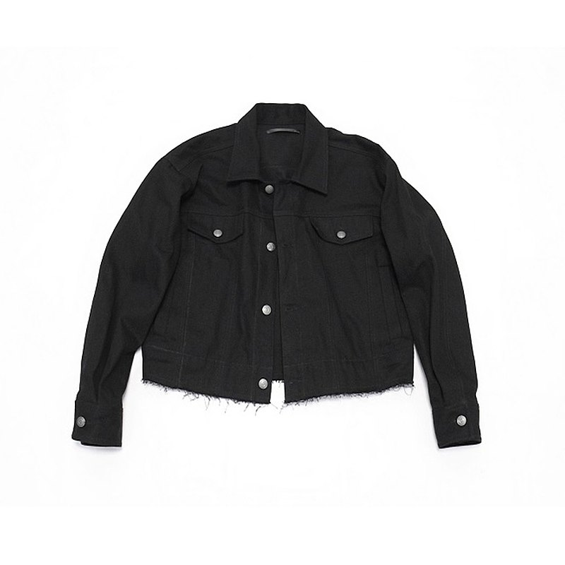 JANWONG VIII 工裝暗黑先鋒款長袖夾克毛邊設計日系短款外套