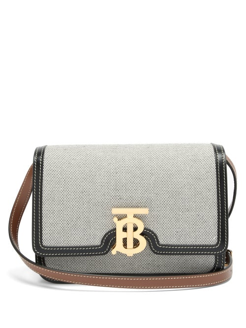 Burberry - Tb Small Canvas And Leather Cross-body Bag - Womens - Black Multi
