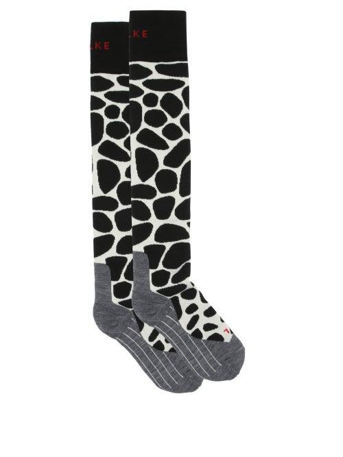 Falke - Sk4 Giraffe-spot Padded Knee-high Ski Socks - Womens - Black Multi