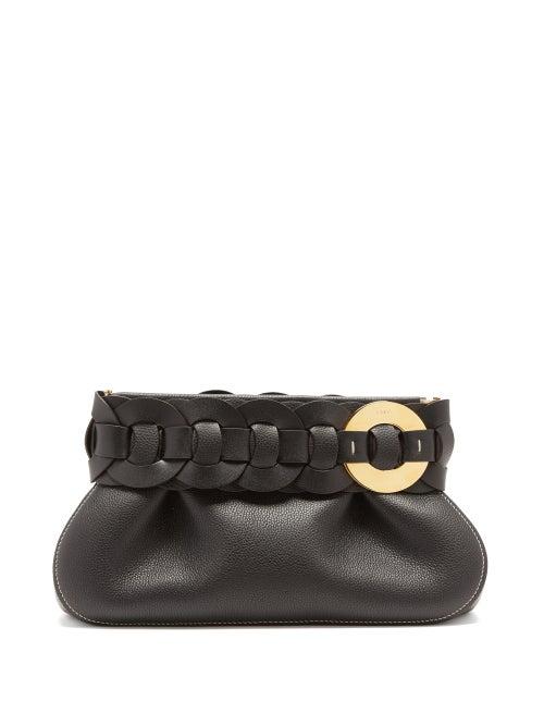 Chloé - Darryl Braided Grained-leather Clutch Bag - Womens - Black