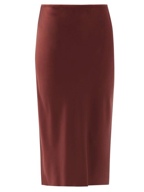 Joseph - Isaak Silk-satin Slip Skirt - Womens - Burgundy