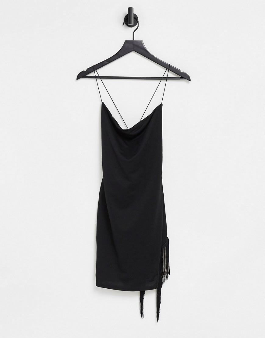 I Saw It First tassel hem strappy back bodycon dress in black