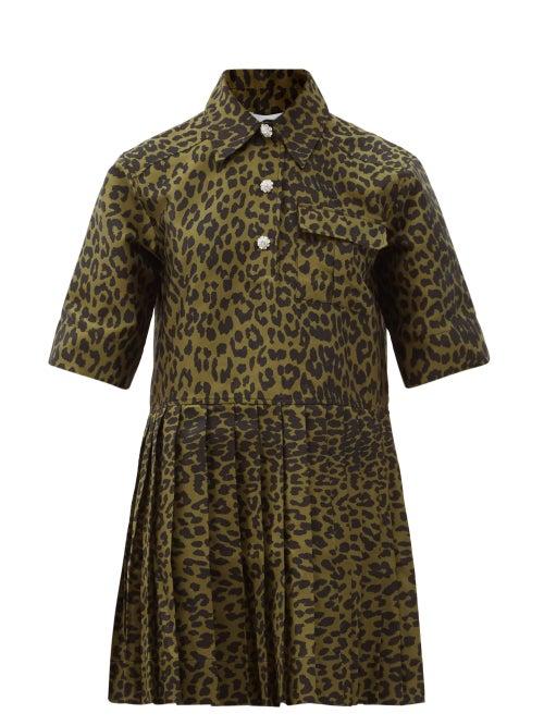 Ganni - Pleated Leopard-jacquard Mini Shirt Dress - Womens - Leopard