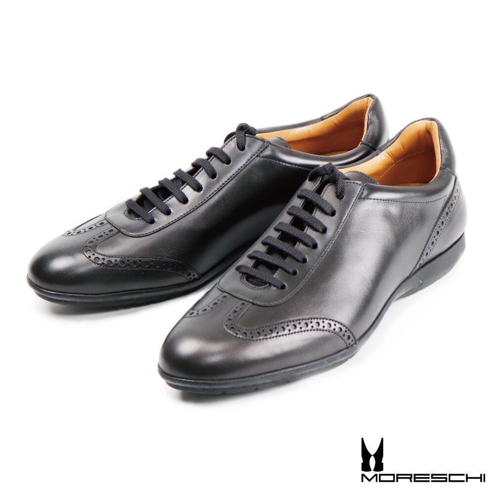 【Moreschi】雕花綁帶休閒紳士鞋 黑色(42323-BL)