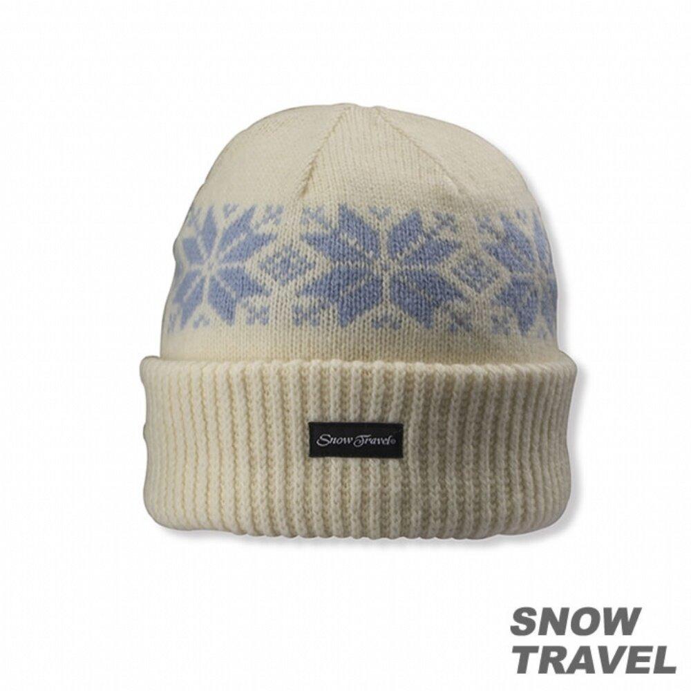 SNOWTRAVEL雪之旅 3M防風透氣保暖羊毛帽(雪花摺邊) 白