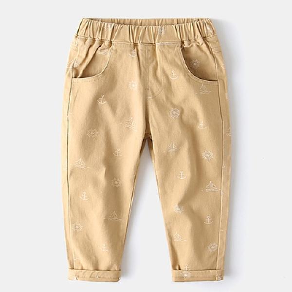 男Baby男童長褲卡其色可愛帆船印花休閒長褲有口袋長褲男童純棉長褲現貨 歐美品質