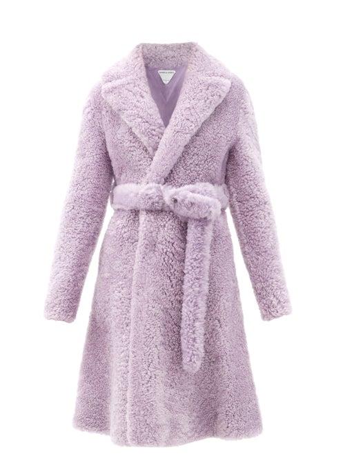 Bottega Veneta - Triangle-stitched Belted Shearling Coat - Womens - Light Purple