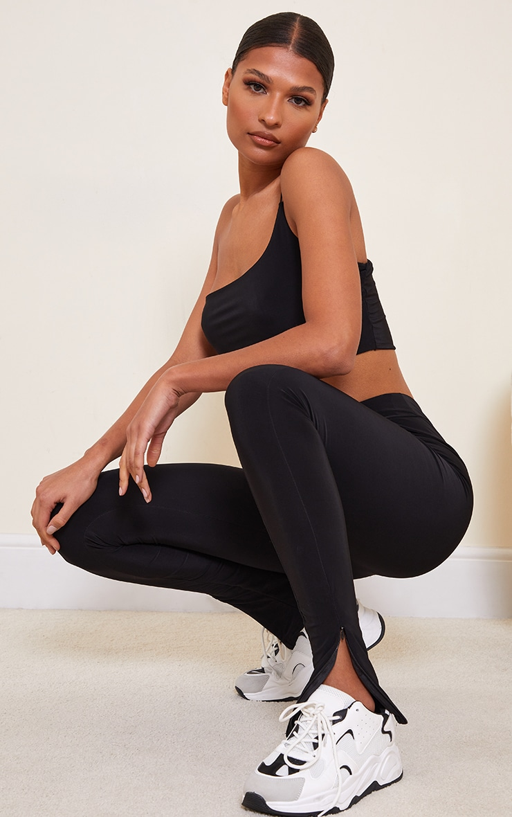 Black Slinky Seam Front Split Hem Leggings