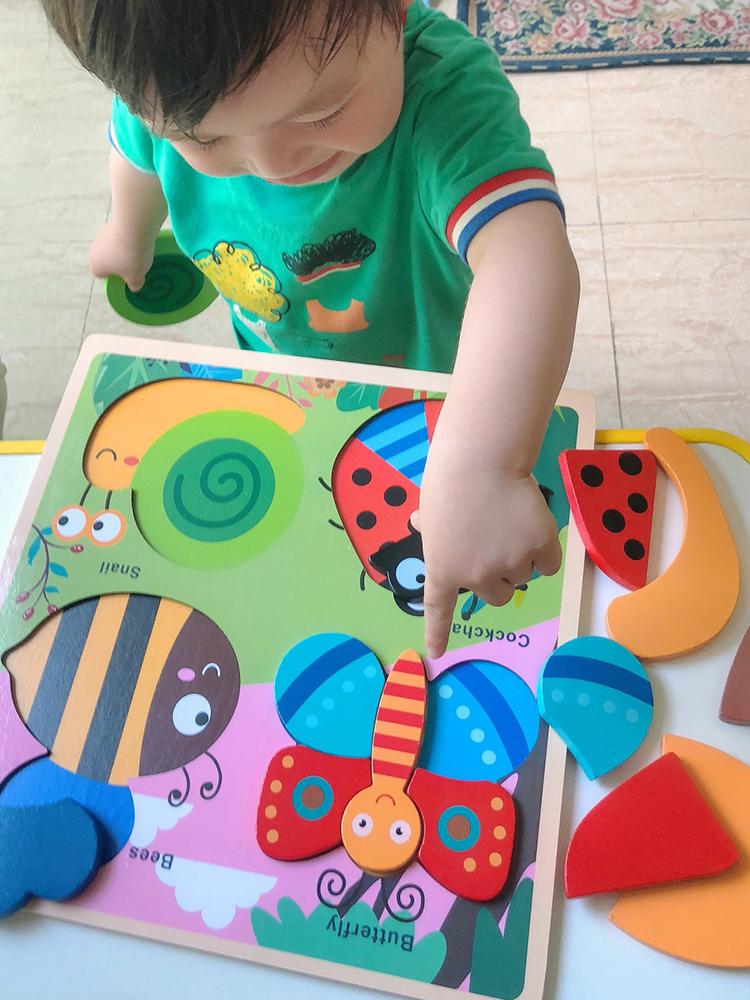 大塊拼圖兒童早教益智力動腦1-2-3歲入門級男女寶寶幼兒木質玩具