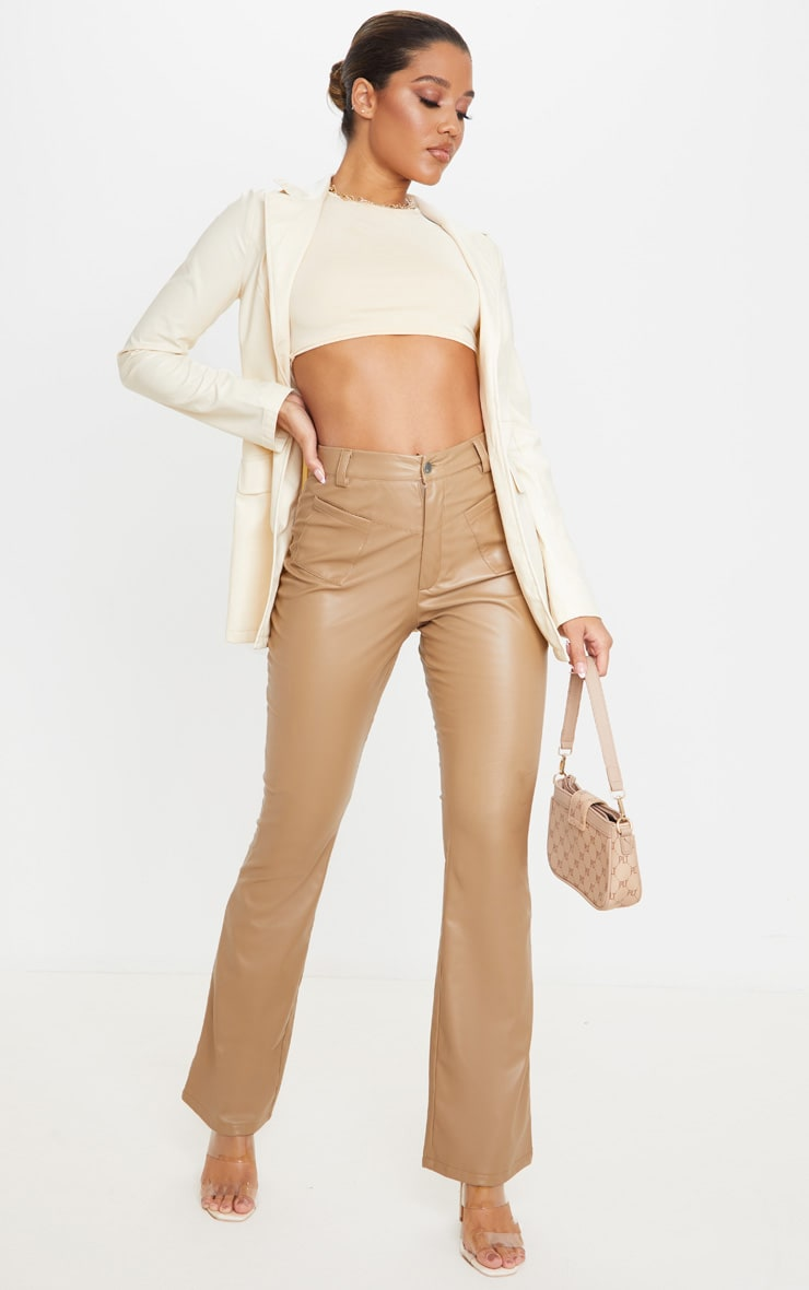 Camel Faux Leather Pocket Detail Straight Pants