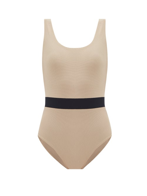 Albus Lumen - Contrast-waist Swimsuit - Womens - Brown Multi