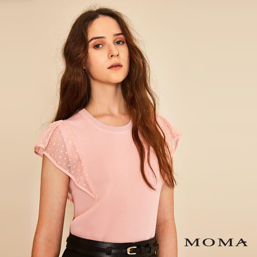 MOMA(01KM06)網紗荷葉袖針織上衣